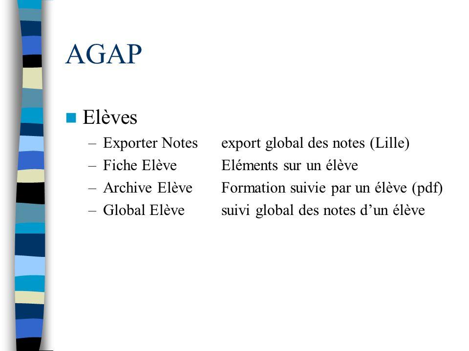 AGAP Elèves –Exporter Notesexport global des notes (Lille) –Fiche ElèveEléments sur un élève –Archive ElèveFormation suivie par un élève (pdf) –Global
