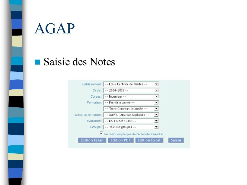 AGAP Saisie des Notes