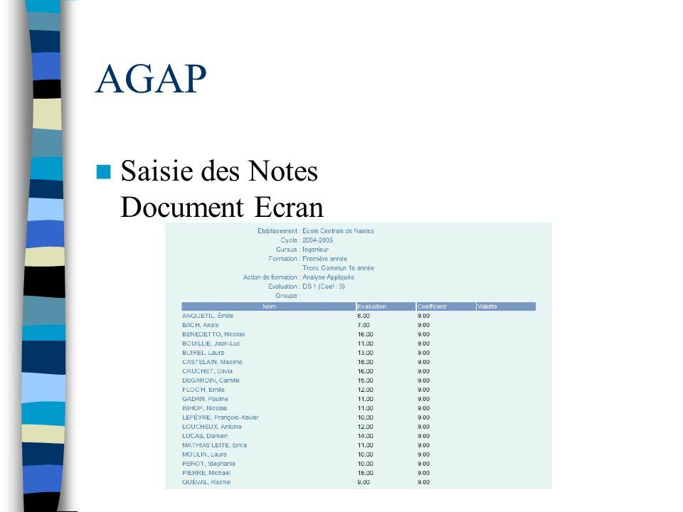 AGAP Saisie des Notes Document Ecran