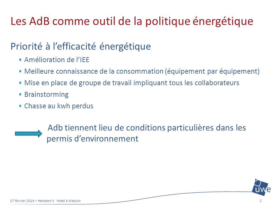 Les AdB comme outil de la politique énergétique Priorité à lefficacité énergétique Amélioration de lIEE Meilleure connaissance de la consommation (équ