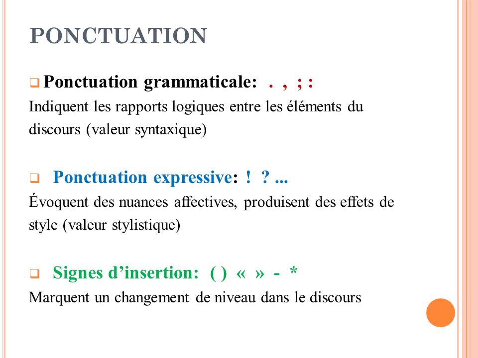 Ponctuation grammaticale:., ; : Indiquent les rapports logiques entre les éléments du discours (valeur syntaxique) Ponctuation expressive: ! ?... Évoq