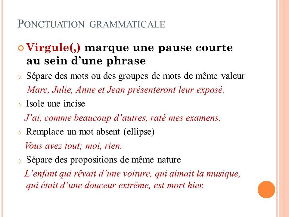 P ONCTUATION GRAMMATICALE Virgule(,) marque une pause courte au sein dune phrase o Sépare des mots ou des groupes de mots de même valeur Marc, Julie, Anne et Jean présenteront leur exposé.
