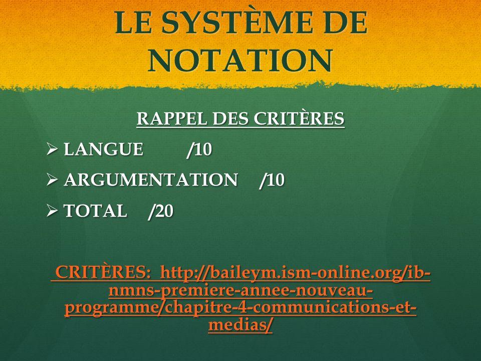 LE SYSTÈME DE NOTATION RAPPEL DES CRITÈRES LANGUE /10 LANGUE /10 ARGUMENTATION /10 ARGUMENTATION /10 TOTAL /20 TOTAL /20 CRITÈRES: http://baileym.ism-online.org/ib- nmns-premiere-annee-nouveau- programme/chapitre-4-communications-et- medias/ CRITÈRES: http://baileym.ism-online.org/ib- nmns-premiere-annee-nouveau- programme/chapitre-4-communications-et- medias/