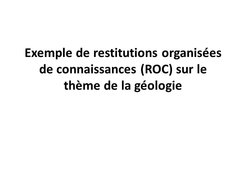 Exemple de restitutions organisées de connaissances (ROC) sur le thème de la géologie