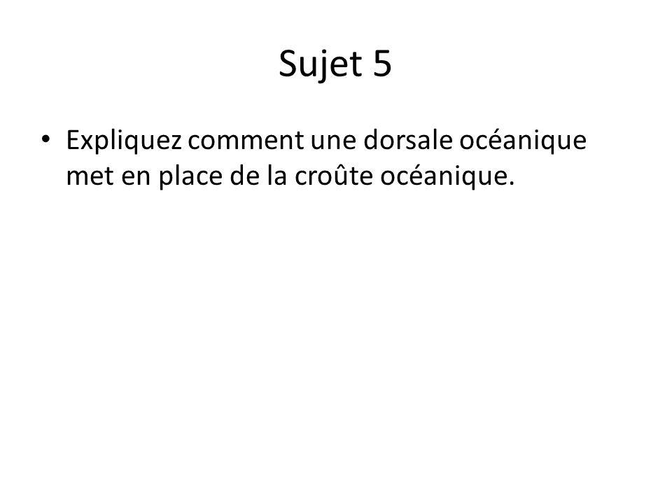 Sujet 5 Expliquez comment une dorsale océanique met en place de la croûte océanique.
