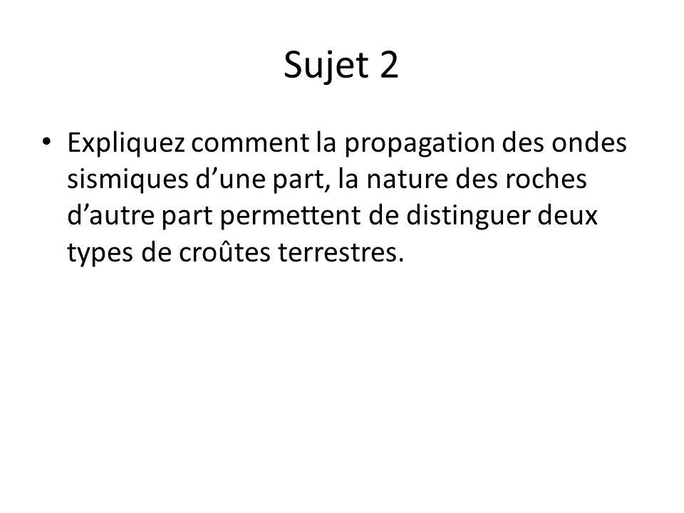 Sujet 2 Expliquez comment la propagation des ondes sismiques dune part, la nature des roches dautre part permettent de distinguer deux types de croûte