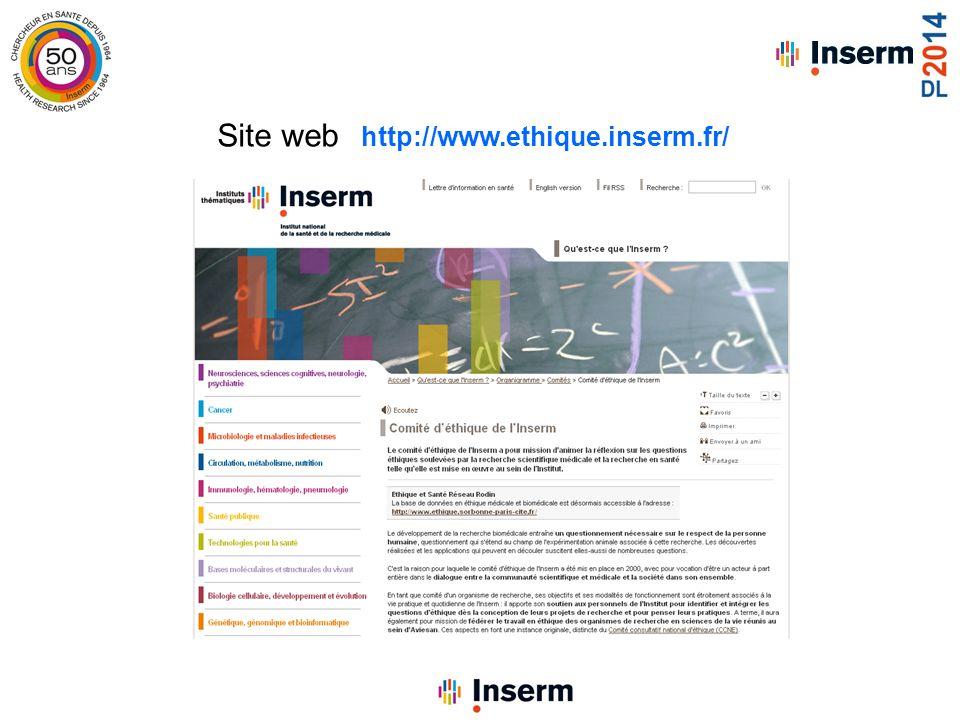 Site web http://www.ethique.inserm.fr/