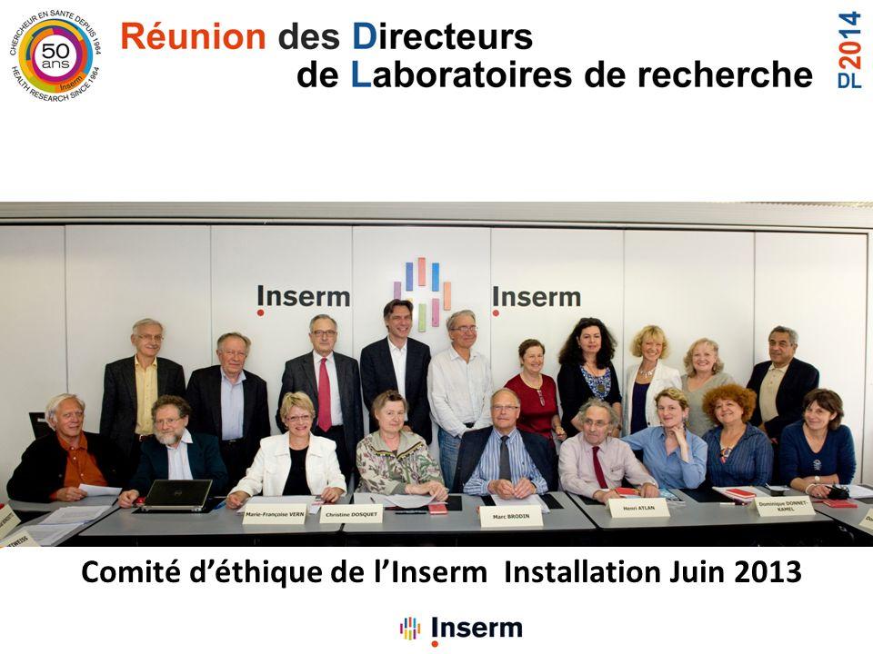 Comité déthique de lInserm Installation Juin 2013