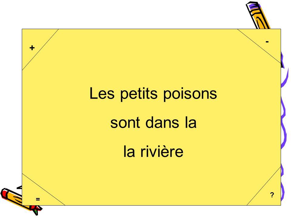 La commucation orale - G. Doucet2 + - = ? Les petits poisons sont dans la la rivière