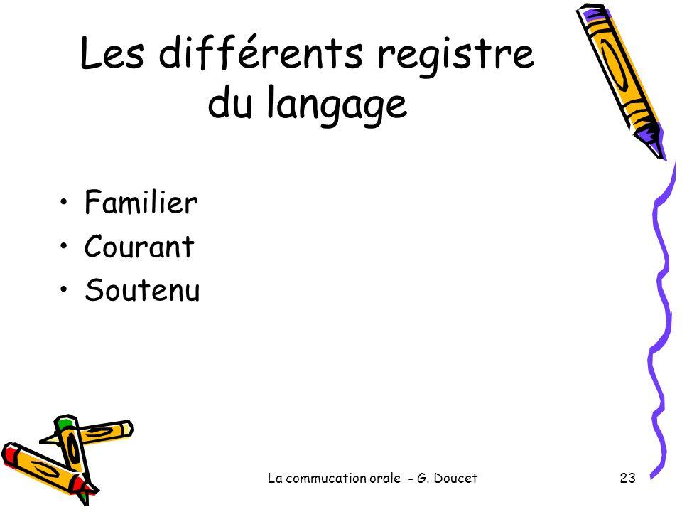 La commucation orale - G. Doucet23 Les différents registre du langage Familier Courant Soutenu