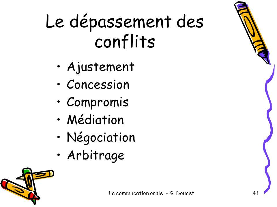 Le dépassement des conflits Ajustement Concession Compromis Médiation Négociation Arbitrage La commucation orale - G. Doucet41