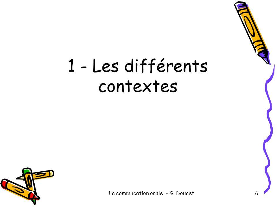 La commucation orale - G. Doucet6 1 - Les différents contextes