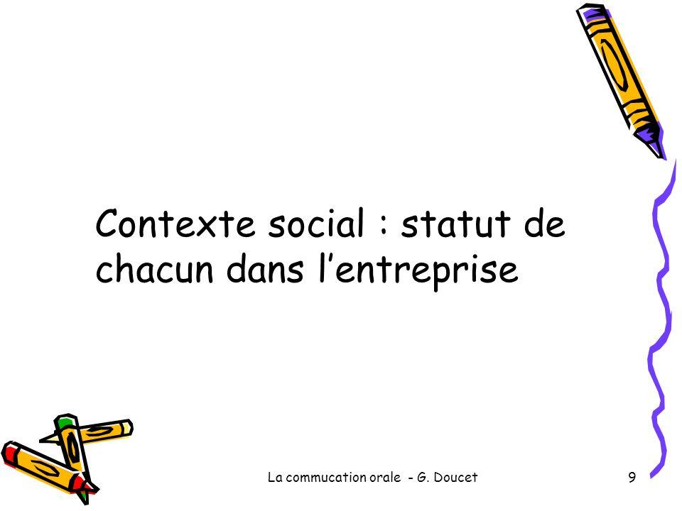 La commucation orale - G. Doucet9 Contexte social : statut de chacun dans lentreprise