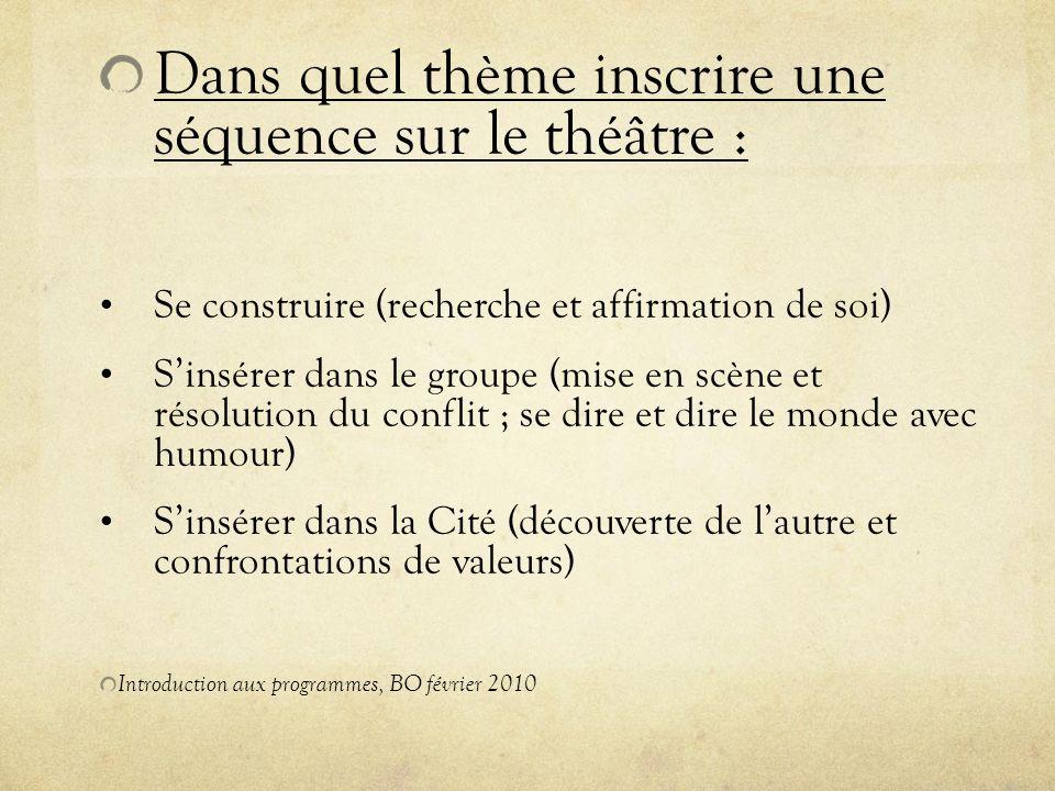 Dans quel thème inscrire une séquence sur le théâtre : Se construire (recherche et affirmation de soi) Sinsérer dans le groupe (mise en scène et résol
