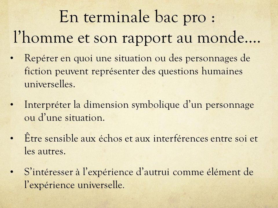 En terminale bac pro : lhomme et son rapport au monde…. Repérer en quoi une situation ou des personnages de fiction peuvent représenter des questions