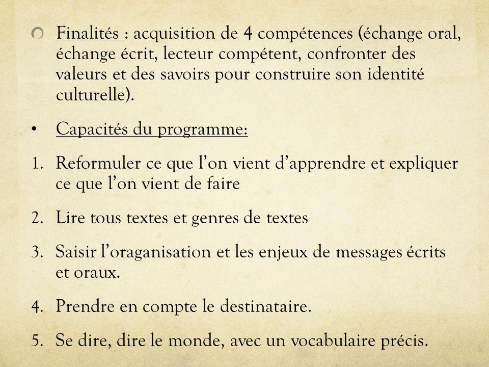Finalités : acquisition de 4 compétences (échange oral, échange écrit, lecteur compétent, confronter des valeurs et des savoirs pour construire son id