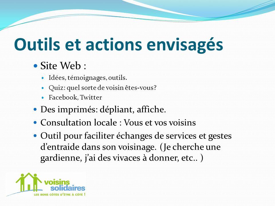 Outils et actions envisagés Site Web : Idées, témoignages, outils. Quiz: quel sorte de voisin êtes-vous? Facebook, Twitter Des imprimés: dépliant, aff