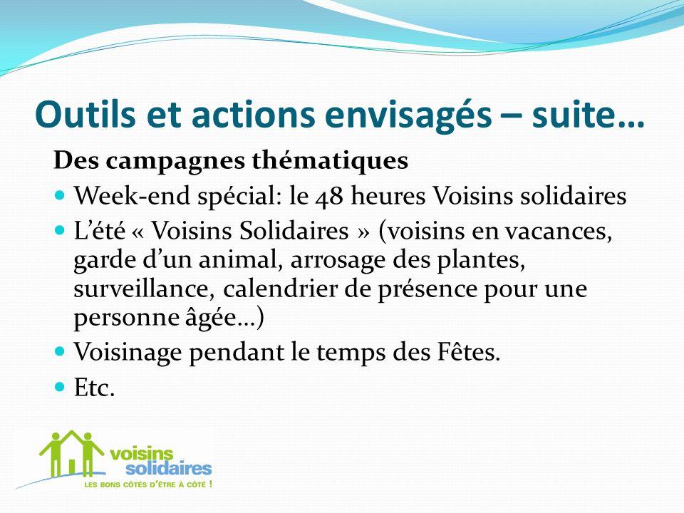Outils et actions envisagés – suite… Des campagnes thématiques Week-end spécial: le 48 heures Voisins solidaires Lété « Voisins Solidaires » (voisins