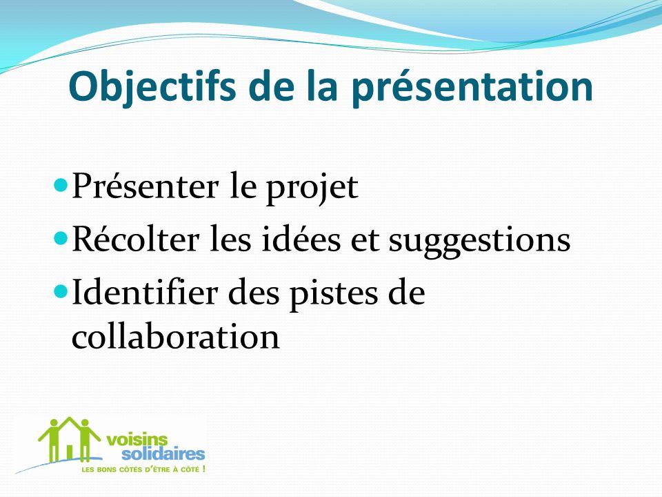Objectifs de la présentation Présenter le projet Récolter les idées et suggestions Identifier des pistes de collaboration