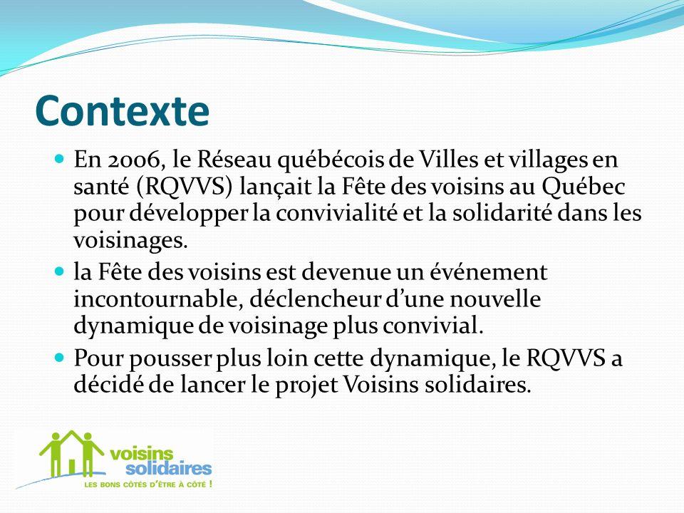 Contexte En 2006, le Réseau québécois de Villes et villages en santé (RQVVS) lançait la Fête des voisins au Québec pour développer la convivialité et