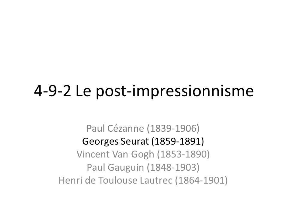 Le divisionnisme ou le pointillisme Un dimanche après midi à la grande Jatte, peinte en 1883/84 par Seurat, est un genre très populaire de lépoque impressionniste, ainsi que les couleurs brillantes, mais limpression de stabilité intemporelle de cette toile ne relève plus dune « impression prise sur le vif ».