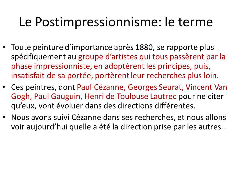 Le Postimpressionnisme: le terme Toute peinture dimportance après 1880, se rapporte plus spécifiquement au groupe dartistes qui tous passèrent par la