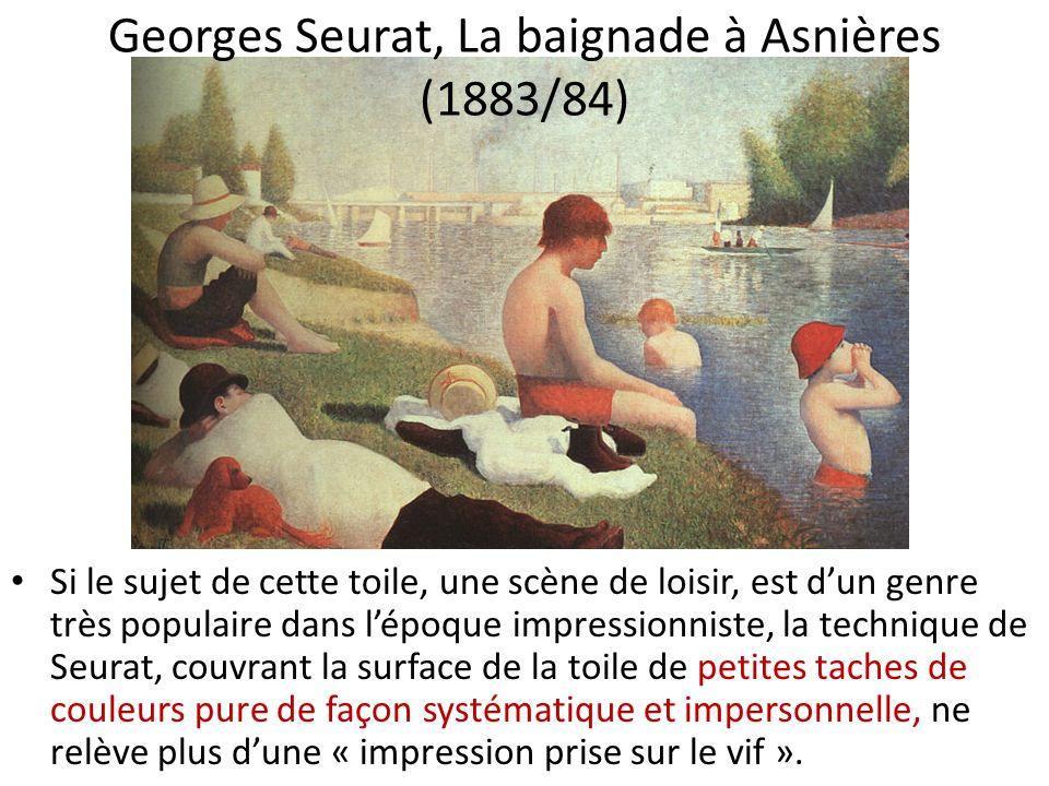 Si le sujet de cette toile, une scène de loisir, est dun genre très populaire dans lépoque impressionniste, la technique de Seurat, couvrant la surfac
