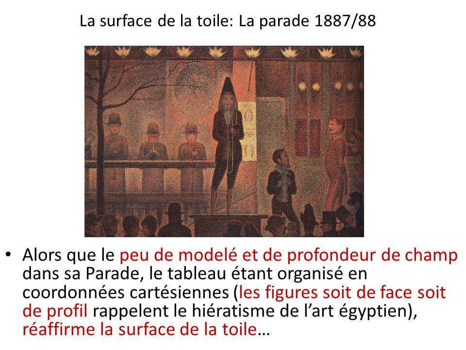 La surface de la toile: La parade 1887/88 Alors que le peu de modelé et de profondeur de champ dans sa Parade, le tableau étant organisé en coordonnée