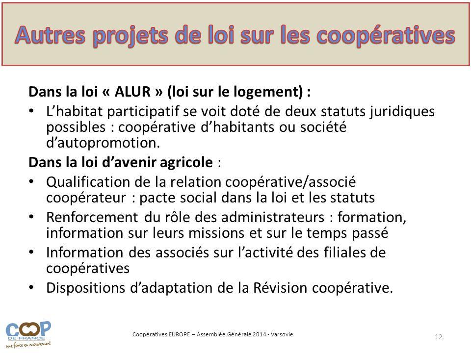Coopératives EUROPE – Assemblée Générale 2014 - Varsovie Dans la loi « ALUR » (loi sur le logement) : Lhabitat participatif se voit doté de deux statu