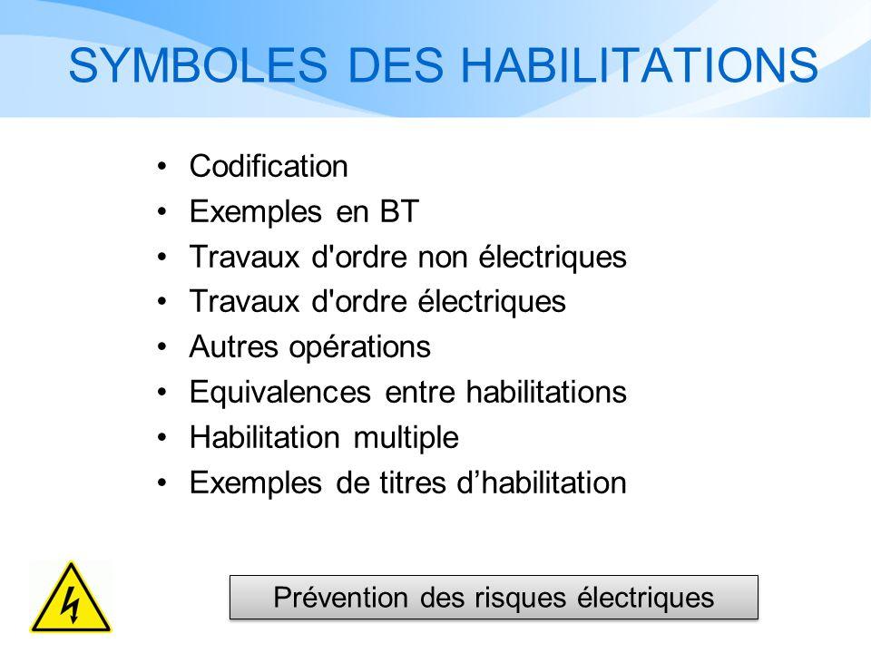 SYMBOLES DES HABILITATIONS Codification Exemples en BT Travaux d ordre non électriques Travaux d ordre électriques Autres opérations Equivalences entre habilitations Habilitation multiple Exemples de titres dhabilitation Prévention des risques électriques