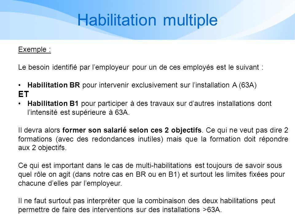 Habilitation multiple Exemple : Le besoin identifié par lemployeur pour un de ces employés est le suivant : Habilitation BR pour intervenir exclusivem