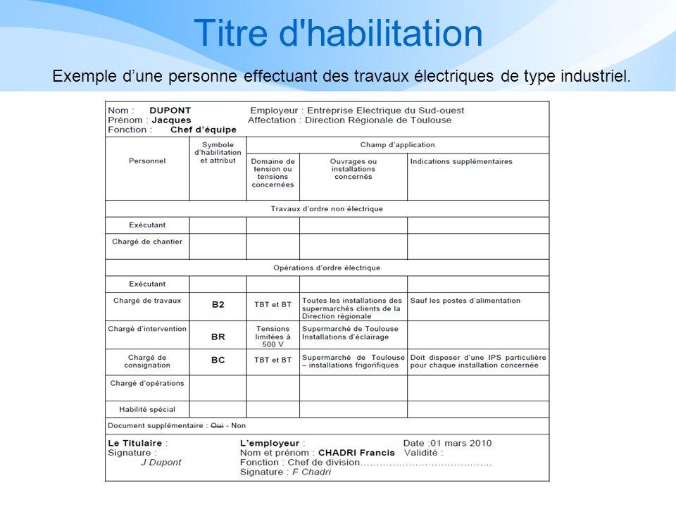 Titre d'habilitation Exemple dune personne effectuant des travaux électriques de type industriel.