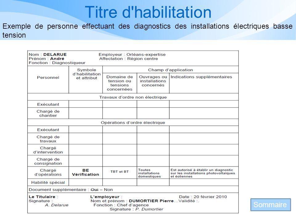 Titre d habilitation Sommaire Exemple de personne effectuant des diagnostics des installations électriques basse tension