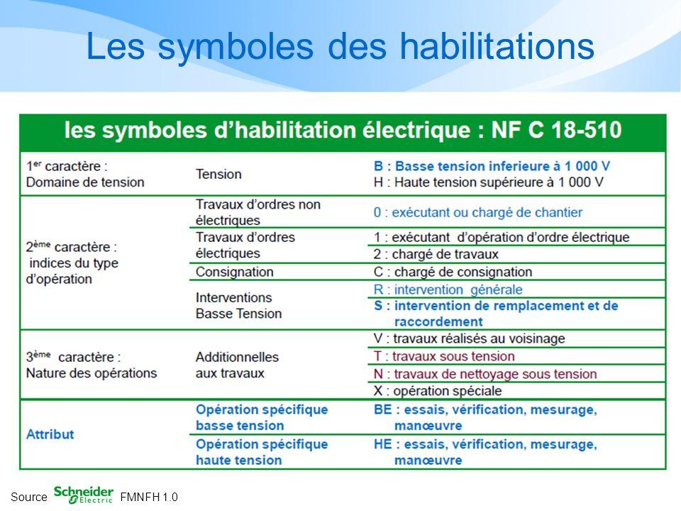 Les symboles des habilitations Source FMNFH 1.0