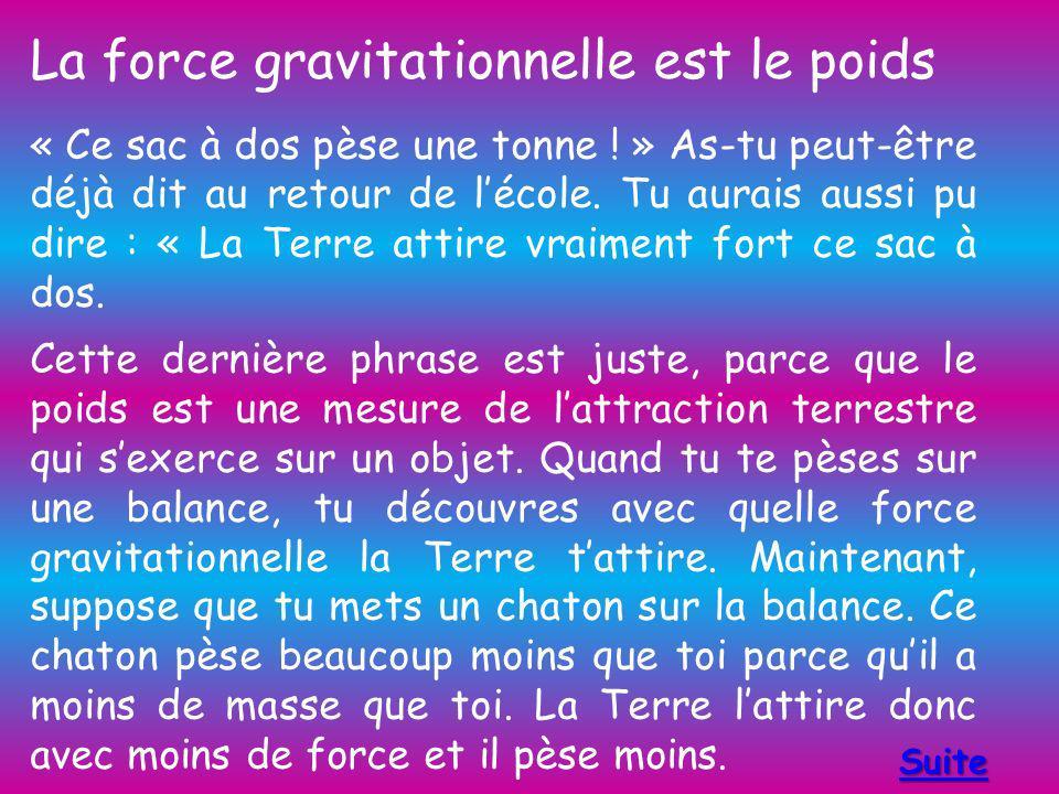 La force gravitationnelle est le poids « Ce sac à dos pèse une tonne .