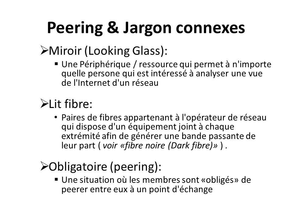Peering & Jargon connexes Miroir (Looking Glass): Une Périphérique / ressource qui permet à n importe quelle persone qui est intéressé à analyser une vue de l Internet d un réseau Lit fibre: Paires de fibres appartenant à l opérateur de réseau qui dispose d un équipement joint à chaque extrémité afin de générer une bande passante de leur part ( voir «fibre noire (Dark fibre)» ).