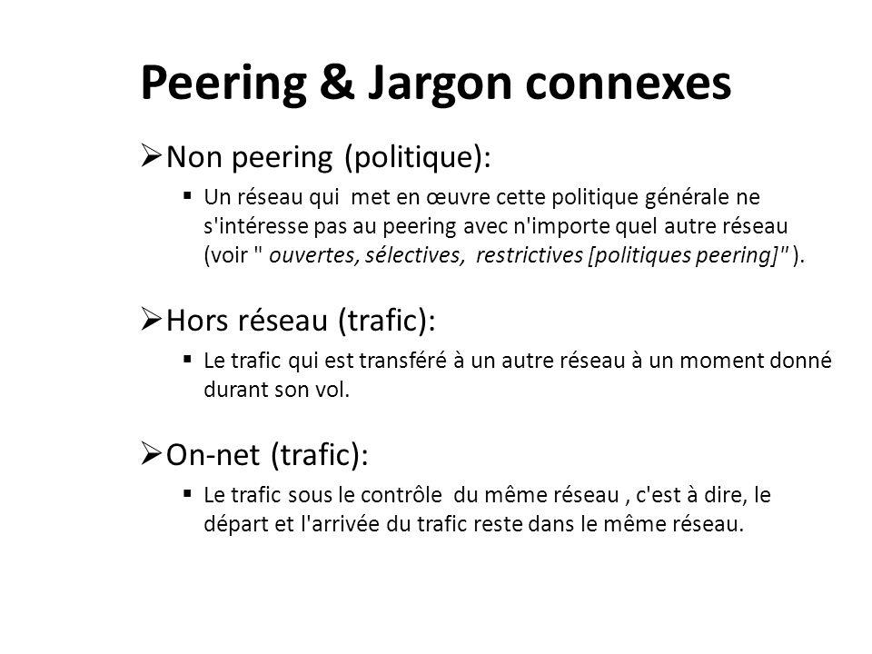 Peering & Jargon connexes Non peering (politique): Un réseau qui met en œuvre cette politique générale ne s intéresse pas au peering avec n importe quel autre réseau (voir ouvertes, sélectives, restrictives [politiques peering] ).