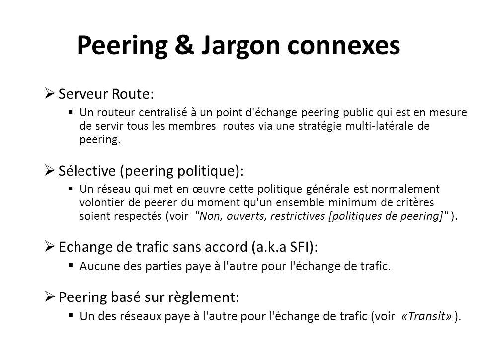 Peering & Jargon connexes Serveur Route: Un routeur centralisé à un point d échange peering public qui est en mesure de servir tous les membres routes via une stratégie multi-latérale de peering.
