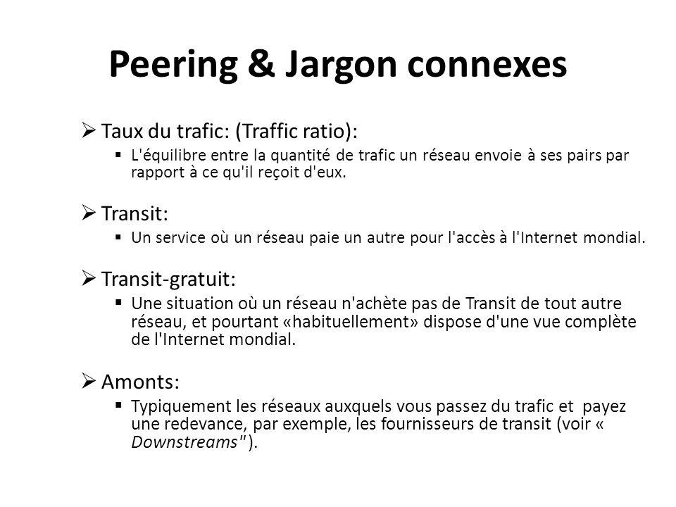 Peering & Jargon connexes Taux du trafic: (Traffic ratio): L équilibre entre la quantité de trafic un réseau envoie à ses pairs par rapport à ce qu il reçoit d eux.