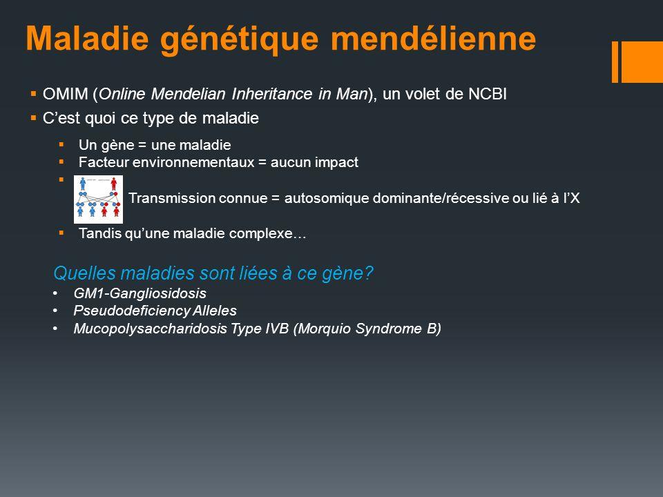 Maladie génétique mendélienne OMIM (Online Mendelian Inheritance in Man), un volet de NCBI Cest quoi ce type de maladie Un gène = une maladie Facteur
