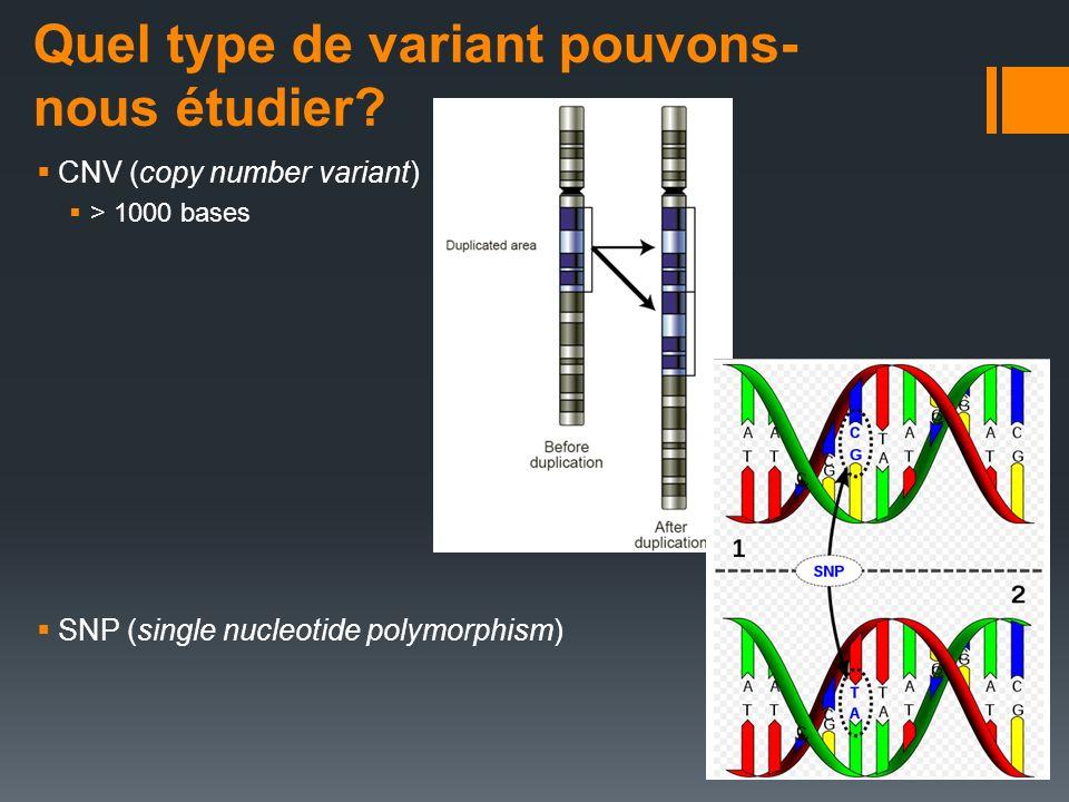 Quel type de variant pouvons- nous étudier? CNV (copy number variant) > 1000 bases SNP (single nucleotide polymorphism)
