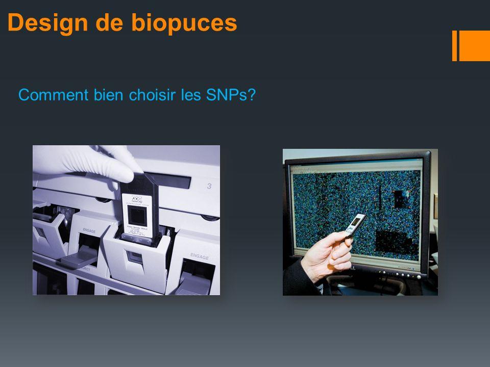 Design de biopuces Comment bien choisir les SNPs?