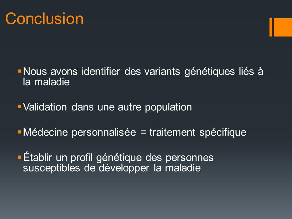 Conclusion Nous avons identifier des variants génétiques liés à la maladie Validation dans une autre population Médecine personnalisée = traitement sp