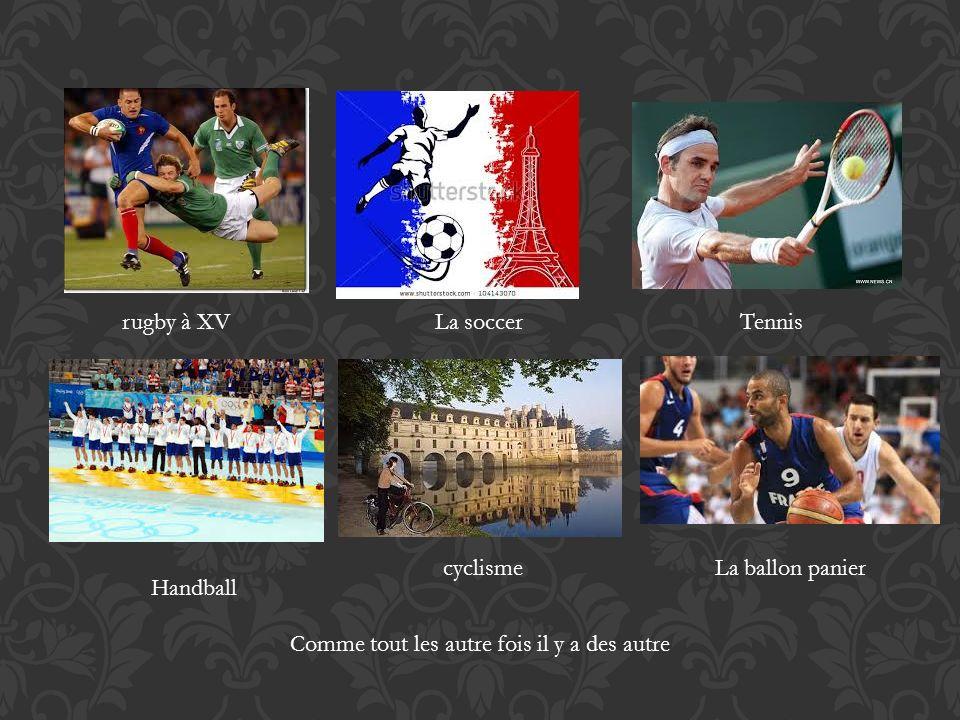 rugby à XV La soccerTennis Handball cyclismeLa ballon panier Comme tout les autre fois il y a des autre