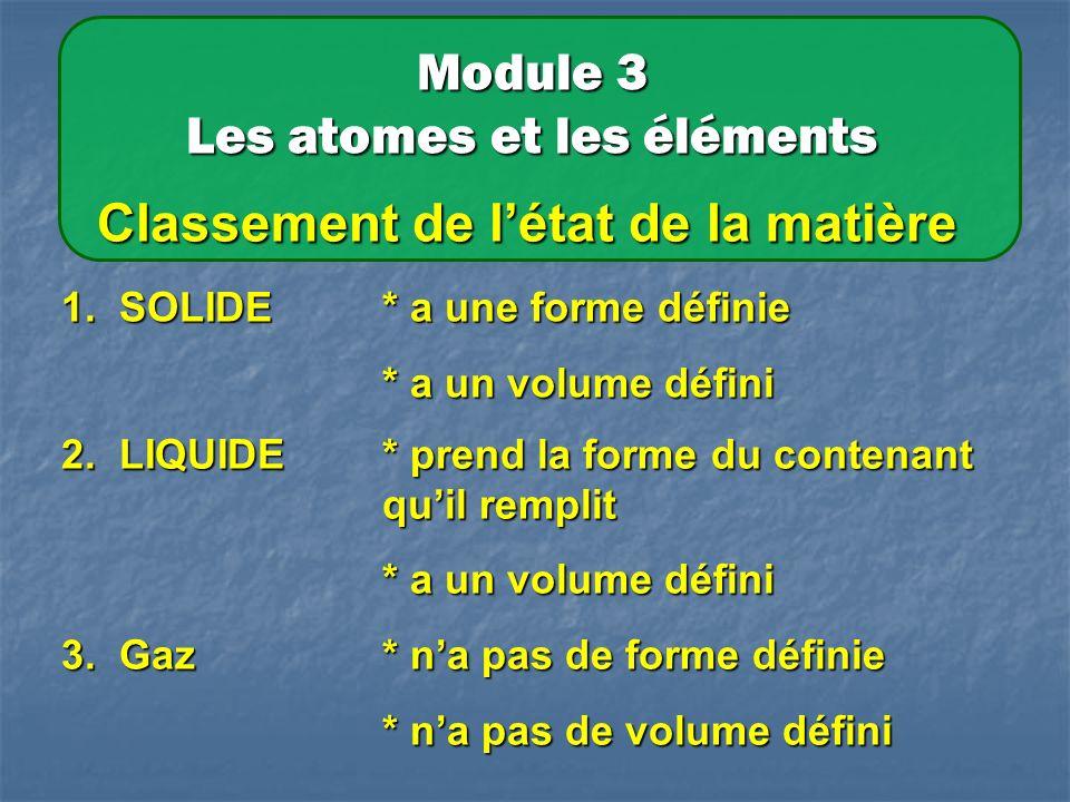 Module 3 Les atomes et les éléments Classement de létat de la matière 1.