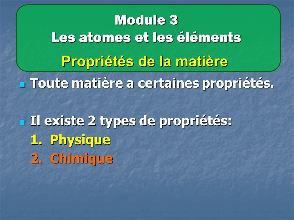 Module 3 Les atomes et les éléments Propriétés de la matière Toute matière a certaines propriétés.
