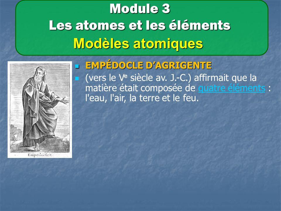 Module 3 Les atomes et les éléments Modèles atomiques EMPÉDOCLE DAGRIGENTE EMPÉDOCLE DAGRIGENTE (vers le V e siècle av.