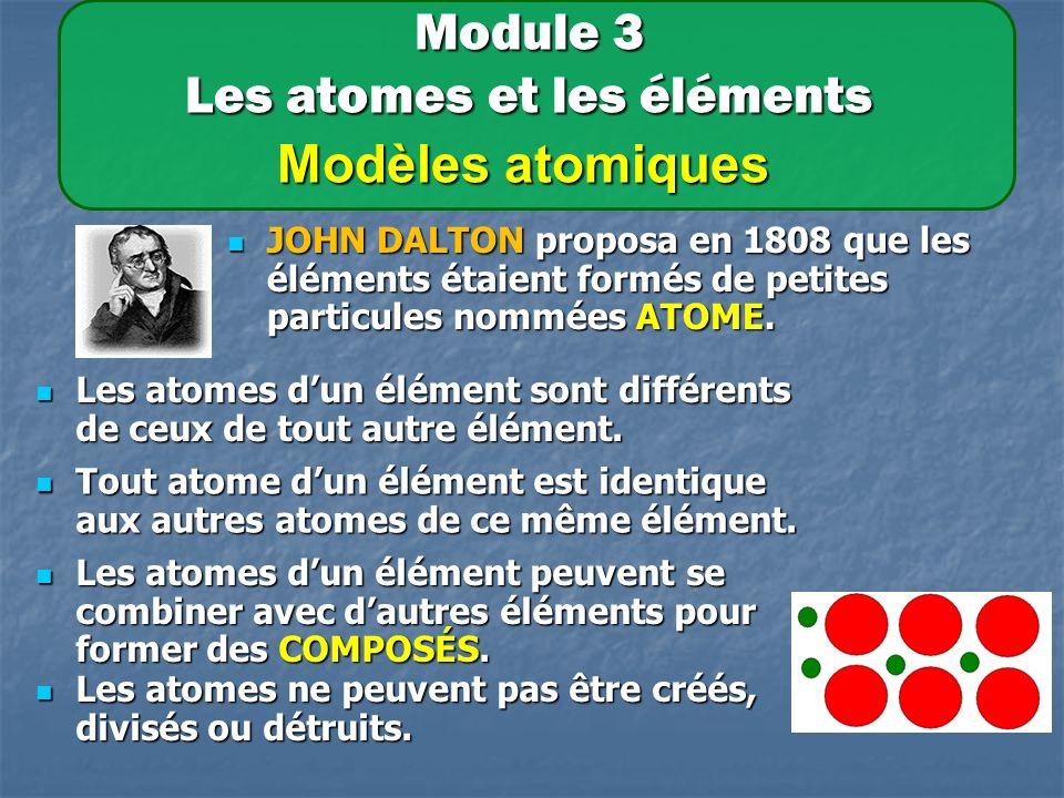 Module 3 Les atomes et les éléments Modèles atomiques JOHN DALTON proposa en 1808 que les éléments étaient formés de petites particules nommées ATOME.
