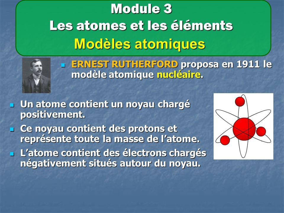 Module 3 Les atomes et les éléments Modèles atomiques ERNEST RUTHERFORD proposa en 1911 le modèle atomique nucléaire.