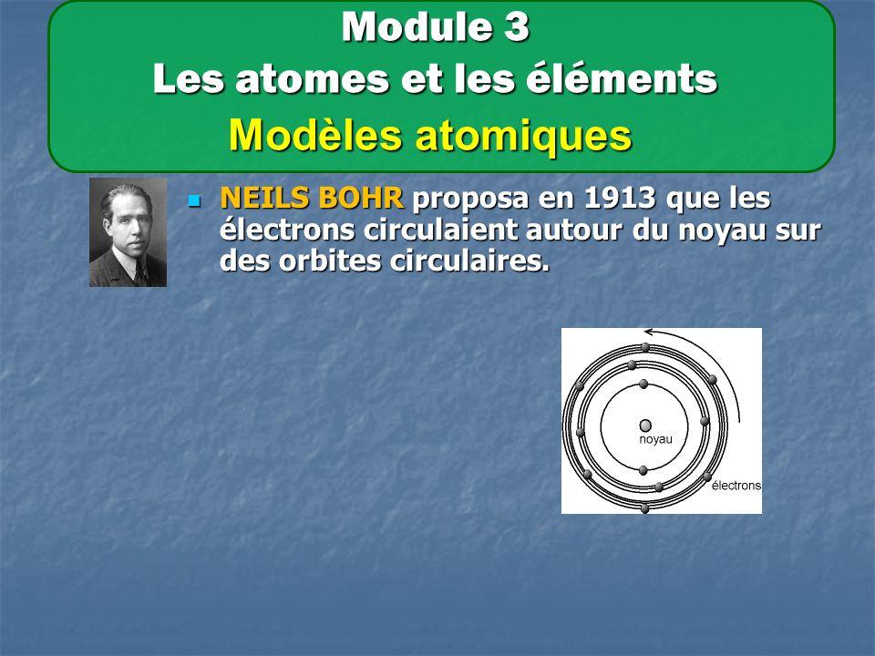 Module 3 Les atomes et les éléments Modèles atomiques NEILS BOHR proposa en 1913 que les électrons circulaient autour du noyau sur des orbites circulaires.